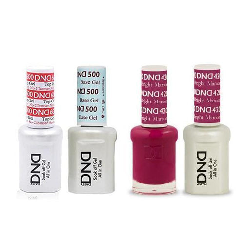 DND - #500#600 Base, Top, Gel & Lacquer Combo - Bright Maroon - #420-Beyond Polish