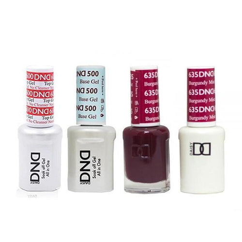 DND - #500#600 Base, Top, Gel & Lacquer Combo - Burgundy Mist - #635-Beyond Polish
