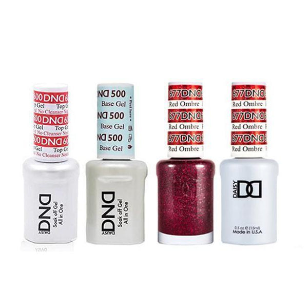 DND - #500#600 Base, Top, Gel & Lacquer Combo - Red Ombre - #677-Beyond Polish