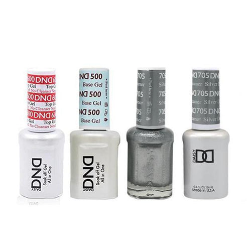DND - #500#600 Base, Top, Gel & Lacquer Combo - Silver Dreamer - #705-Beyond Polish