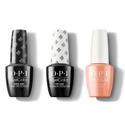 OPI - GelColor Combo - Base, Top & Coral-ing Your Spirit Animal-Beyond Polish