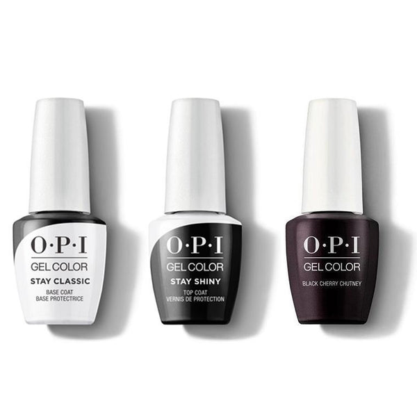 OPI - GelColor Combo - Stay Classic Base, Shiny Top & Black Cherry Chutney-Beyond Polish
