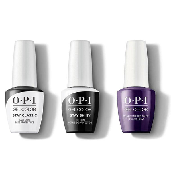 OPI - GelColor Combo - Stay Classic Base, Shiny Top & Do You Have This Color In Stock-Holm?-Beyond Polish