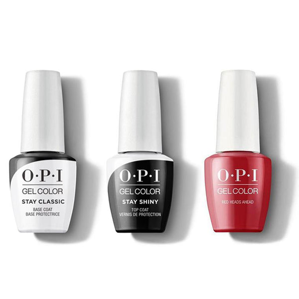 OPI - GelColor Combo - Stay Classic Base, Shiny Top & Red Heads Ahead-Beyond Polish
