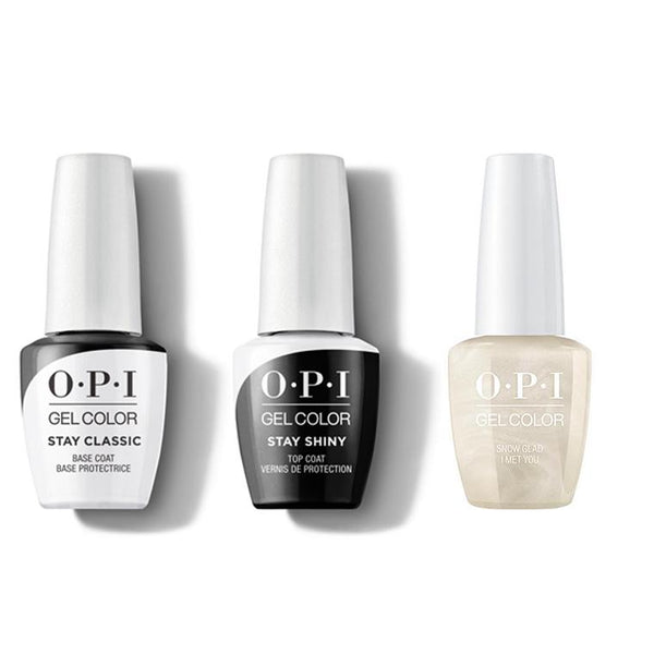 OPI - GelColor Combo - Stay Classic Base, Shiny Top & Snow Glad I Met You-Beyond Polish