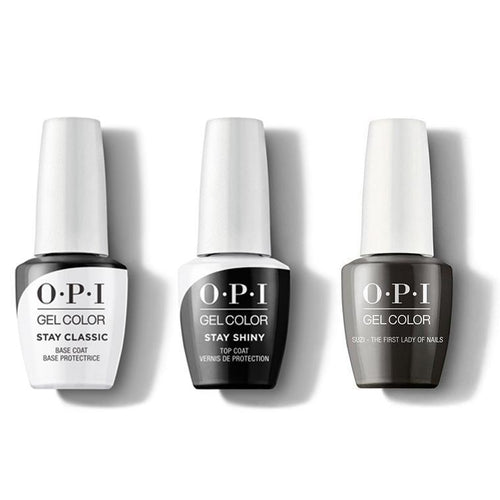 OPI - GelColor Combo - Stay Classic Base, Shiny Top & Suzi The First Lady of Nails-Beyond Polish