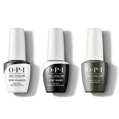 OPI - GelColor Combo - Stay Classic Base, Shiny Top & Things I've Seen In Aber-green-Beyond Polish
