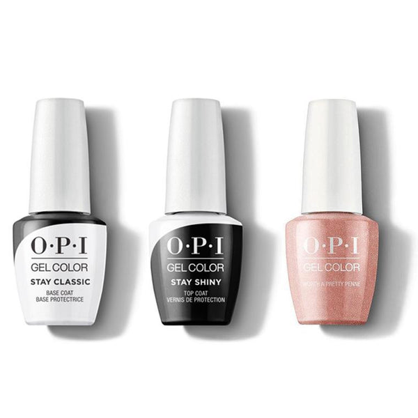 OPI - GelColor Combo - Stay Classic Base, Shiny Top & Worth a Pretty Penne-Beyond Polish