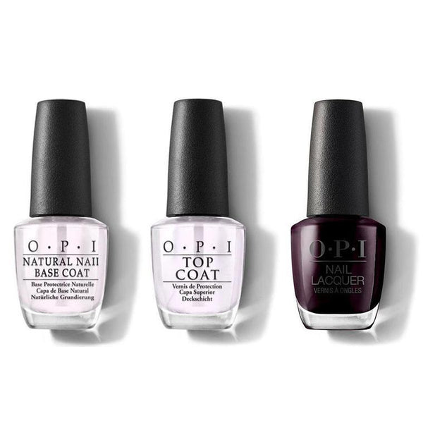 OPI - Nail Lacquer Combo - Base, Top & Black Cherry Chutney 0.5 oz - #NLI43-Beyond Polish