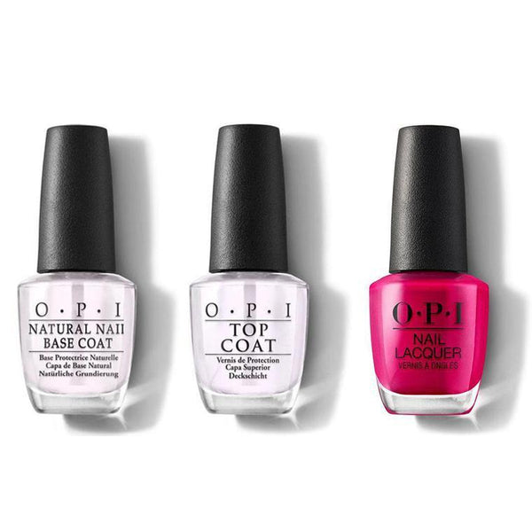 OPI - Nail Lacquer Combo - Base, Top & California Raspberry 0.5 oz - #NLL54-Beyond Polish