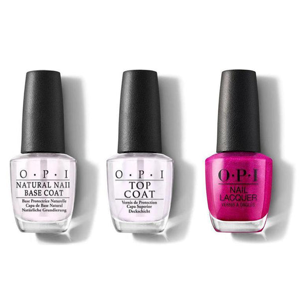 OPI - Nail Lacquer Combo - Base, Top & Flashbulb Fuchsia 0.5 oz - #NLB31-Beyond Polish