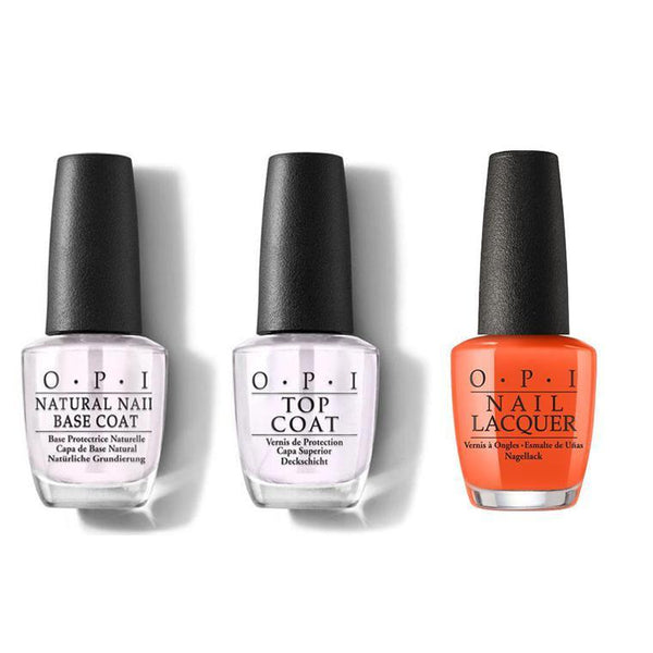 OPI - Nail Lacquer Combo - Base, Top & Santa Monica Beach Peach 0.5 oz - #NLD39-Beyond Polish