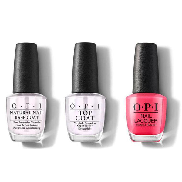 OPI - Nail Lacquer Combo - Base, Top & Strawberry Margarita 0.5 oz - #NLM23-Beyond Polish