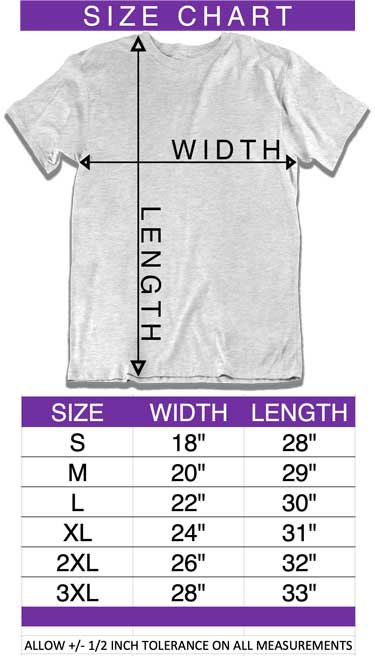 size chart adult unisex short sleeve t-shirt