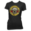 Women Exclusive GUNS N' ROSES T-Shirt, Distressed Bullet Logo