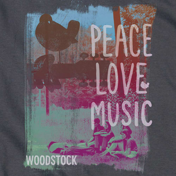 Premium WOODSTOCK Hoodie, Peace Love Music
