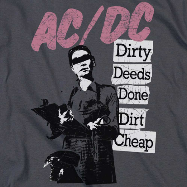 AC/DC Impressive Long Sleeve T-Shirt, Dirty Deeds Done Dirt Cheap