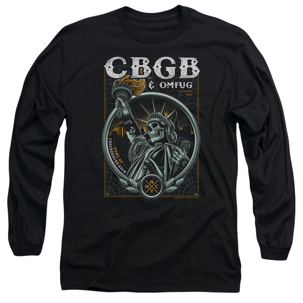 CBGB Impressive Long Sleeve T-Shirt, Liberty Skull