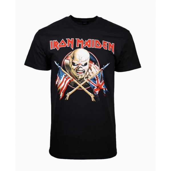 IRON MAIDEN Elite T-Shirt, Crossed Flags US & UK