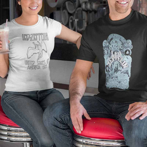 Couple Men and Women Wearing Led Zeppelin Outstanding T-Shirts