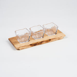 Andrew/Simon Collaboration - Parker Board with 3 Glass Bowls - Andrew Pearce Bowls