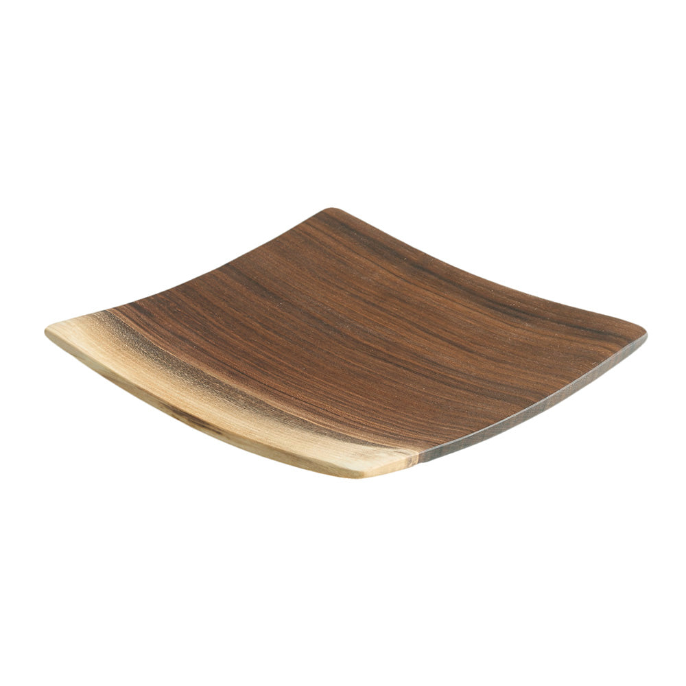 Echo Collection Square Wooden Plate in Black Walnut