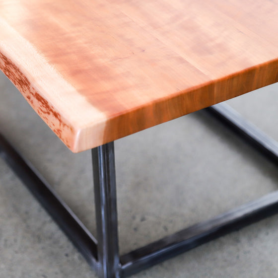 Live Edge Coffee Table with box steel legs and frame - Andrew Pearce Bowls