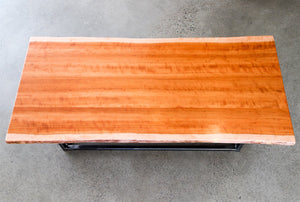 Live Edge Coffee Table with flame cut solid steel legs - Andrew Pearce Bowls