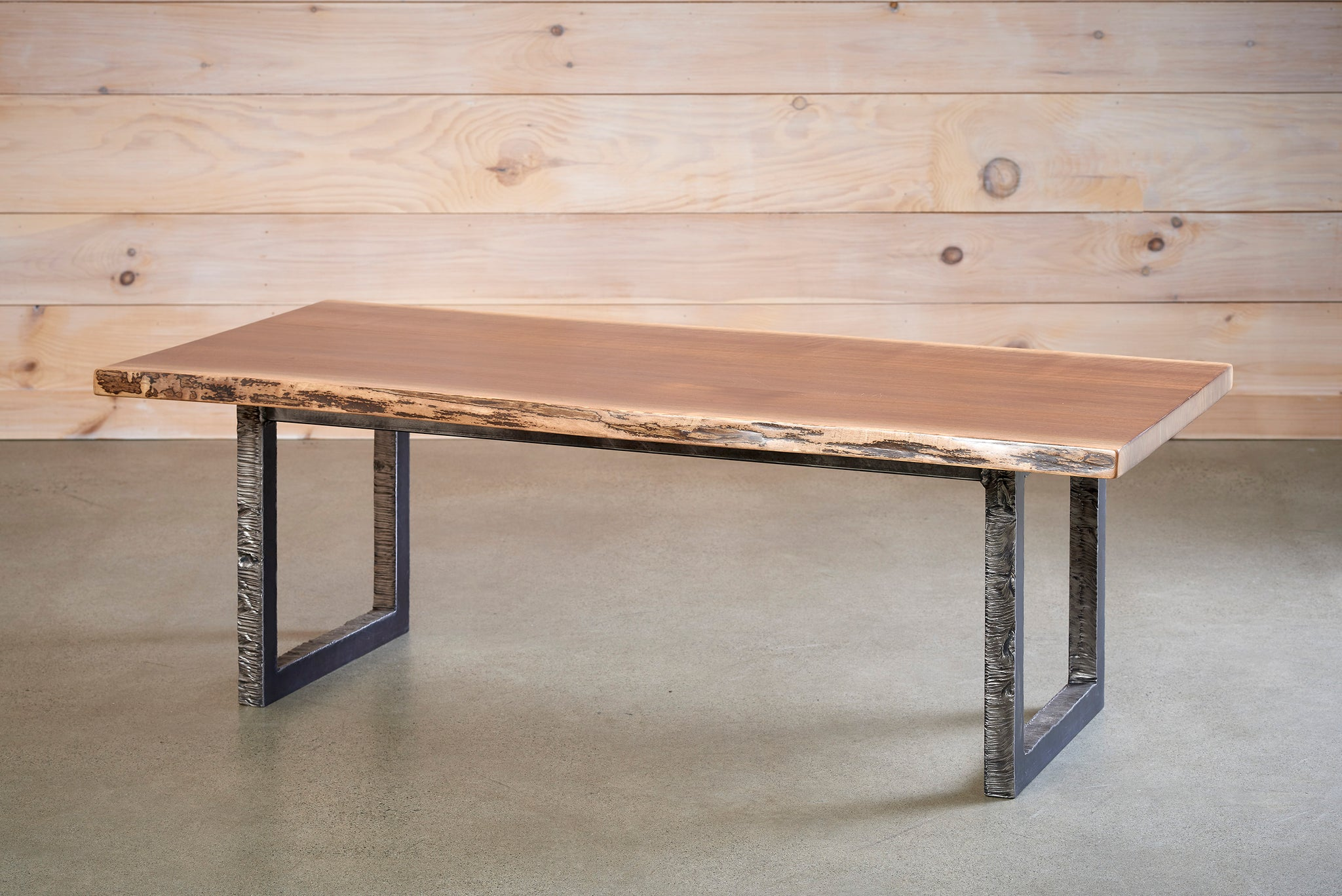Live Edge Coffee Table with flame cut solid steel legs