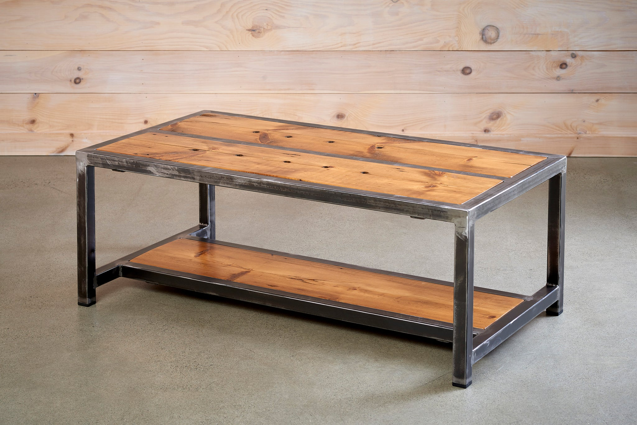 Picture of: Wooden Coffee Table With Metal Legs