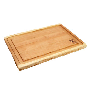 Medium Live Edge Cutting Board with Juice Groove in Cherry Wood - Andrew Pearce Bowls