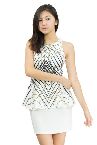 Darianne Patterned Peplum, Le Summer, front view