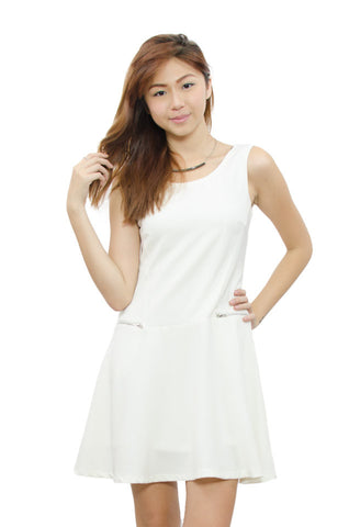 Raeanne Zip Dress White