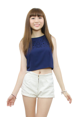Lia Blue Cropped Top