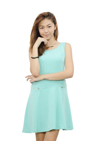 Raeanne Zip Dress Turquoise