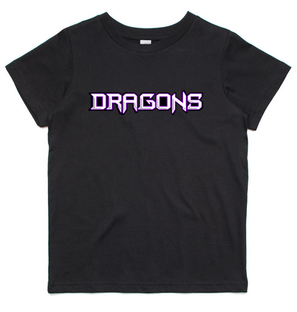 Melton Dragons Basketball Club KIDS Tshirts  - Writing across front