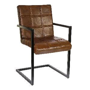 Biker cognac leather chair with arms Iron frame