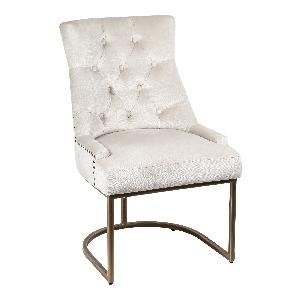 Classy light brown fabric dining chair metal leg