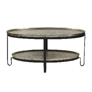 Kae gold ovale alu black Iron coffee table 2 layer