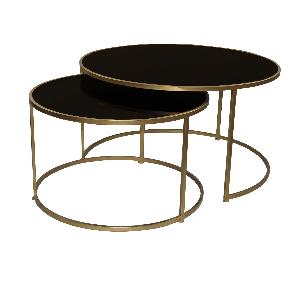 Miyo dark Glass gold Iron round coffeetable sv2