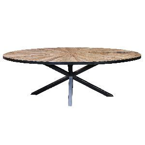Cleme ovale Elm brown diningtable black Iron KD- Code 687711