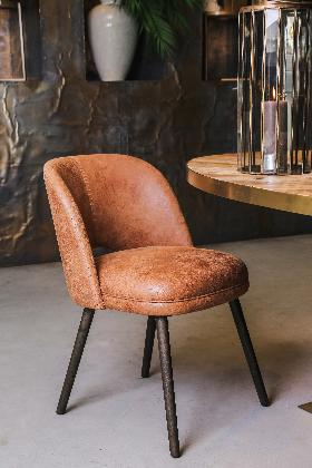 Boris brown leather dining chair dark wooden leg