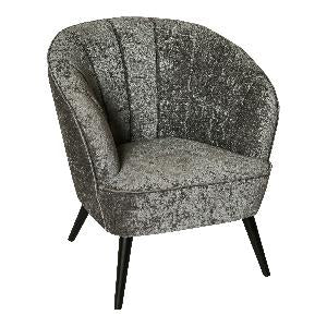 Hanna luxury grey velvet chair black wood leg