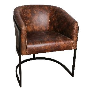 Denzil leather  chair black metal frame