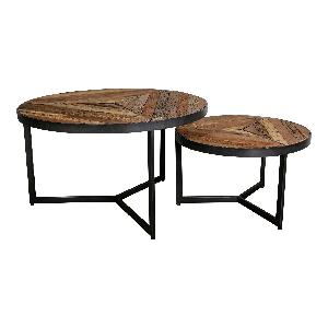 Danyon round coffeetable s/2 inlayed wood grey iro