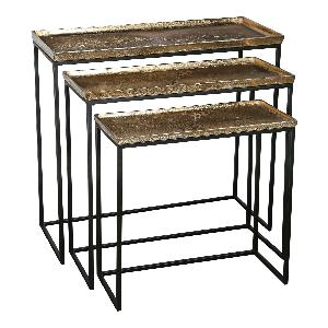 Daan gold Aluminum black Iron sidetable S/3