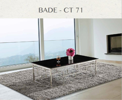 Bade ct 71  Salontafel  wit en zwart met chroom