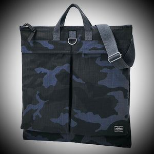 "PORTER YOSHIDA & CO: ""PLATOON"" 2 WAY HELMET BAG (WOODLAND NAVY)"