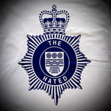 "THE HATED SKATEBOARDS: BRITISH TRANSPORT POLICE TEE (WHITE) ""blue on white print"""