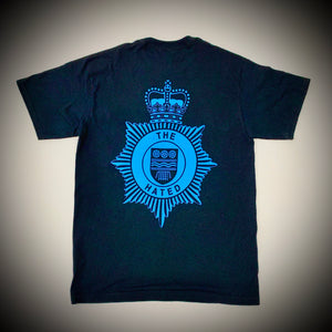 "THE HATED SKATEBOARDS: BRITISH TRANSPORT POLICE TEE (BLACK) ""blue on black print"""